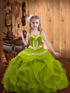 Olive Green Straps Neckline Embroidery and Ruffles Child Pageant Dress Sleeveless Lace Up