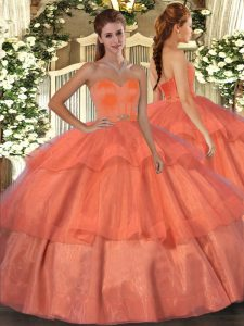 Dramatic Orange Red Lace Up Quince Ball Gowns Beading and Ruffled Layers Sleeveless Floor Length