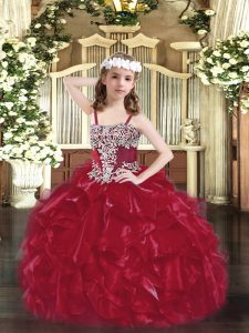 Charming Wine Red Ball Gowns Straps Sleeveless Organza Floor Length Lace Up Appliques and Ruffles Pageant Dress for Wome