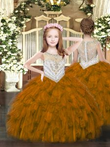 Ball Gowns Pageant Dresses Brown Scoop Organza Sleeveless Floor Length Zipper