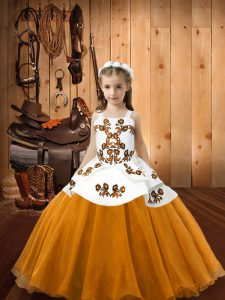 Modern Orange Organza Lace Up Little Girls Pageant Dress Wholesale Sleeveless Floor Length Embroidery