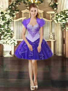 Flare Sleeveless Organza Mini Length Lace Up Dress for Prom in Purple with Beading and Ruffles
