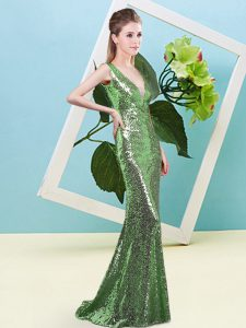 Super Green Mermaid Sequined V-neck Sleeveless Sequins Floor Length Zipper