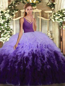 Multi-color Sleeveless Ruffles Floor Length Sweet 16 Dress
