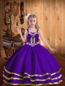 Eggplant Purple Lace Up Little Girl Pageant Gowns Beading and Ruffled Layers Sleeveless Floor Length