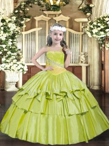 Perfect Yellow Green Ball Gowns Straps Sleeveless Organza Floor Length Lace Up Beading and Ruffled Layers Pageant Gowns