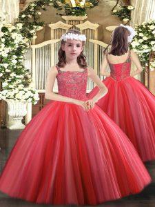 Tulle Sleeveless Floor Length Girls Pageant Dresses and Beading