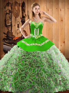 Shining Sweetheart Sleeveless Vestidos de Quinceanera With Train Sweep Train Embroidery Multi-color Satin and Fabric Wit