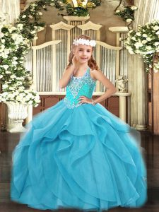 Sleeveless Floor Length Beading and Ruffles Lace Up Little Girl Pageant Dress with Aqua Blue