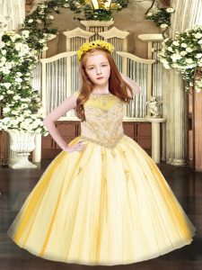 Scoop Sleeveless Tulle Pageant Dress Beading and Appliques Zipper