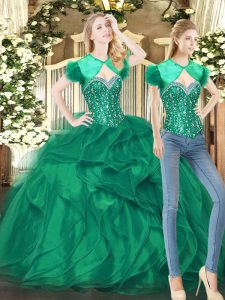 Lovely Sleeveless Lace Up Floor Length Beading and Ruffles Quinceanera Dresses