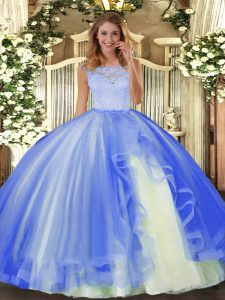 Inexpensive Sleeveless Tulle Floor Length Clasp Handle Quinceanera Dress in Blue with Lace and Ruffles