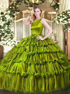 Sophisticated Olive Green Ball Gowns Ruffled Layers Quinceanera Gown Clasp Handle Organza Sleeveless Floor Length