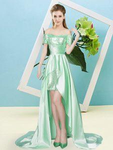 Apple Green Elastic Woven Satin and Sequined Lace Up Off The Shoulder Short Sleeves High Low Prom Dresses Sequins