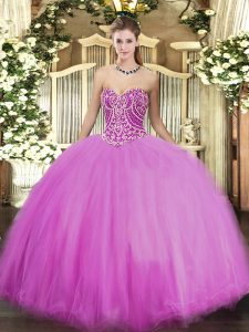 Romantic Beading Quinceanera Dress Lilac Lace Up Sleeveless Floor Length