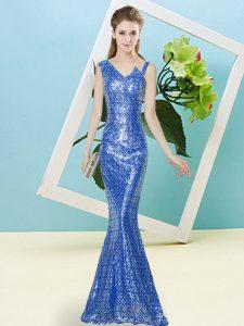 Blue Sleeveless Sequins Floor Length Prom Dresses