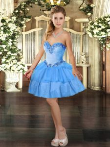 Baby Blue Ball Gowns Sweetheart Sleeveless Organza Mini Length Lace Up Beading and Ruffled Layers Homecoming Dress