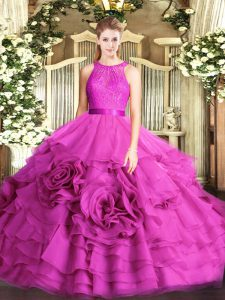Colorful Sleeveless Lace Zipper Quinceanera Gowns