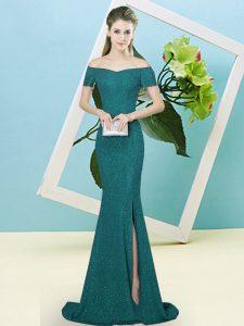 Turquoise Sequined Zipper Off The Shoulder Short Sleeves Prom Dresses Sweep Train Sequins