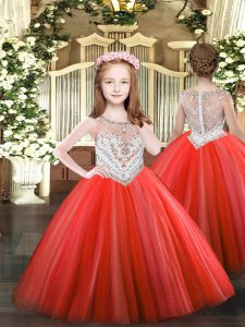 Perfect Coral Red Little Girls Pageant Dress Party and Quinceanera with Beading Scoop Sleeveless Zipper
