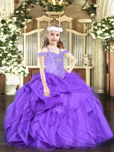 Organza Off The Shoulder Sleeveless Lace Up Beading and Ruffles Little Girls Pageant Dress Wholesale in Lavender