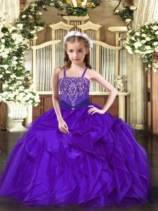 Luxurious Purple Ball Gowns Beading and Ruffles Little Girls Pageant Dress Lace Up Organza Sleeveless Floor Length