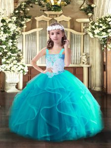 Tulle Sleeveless Floor Length Kids Pageant Dress and Beading and Ruffles