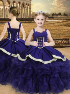 Floor Length Lace Up Little Girls Pageant Dress Purple for Sweet 16 and Quinceanera with Beading and Ruffles