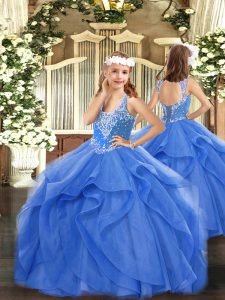 Elegant Blue Little Girls Pageant Dress Wholesale Party and Quinceanera with Beading and Ruffles V-neck Sleeveless Lace