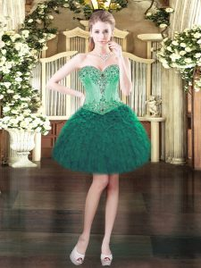 Beading and Ruffles Prom Evening Gown Dark Green Lace Up Sleeveless Mini Length