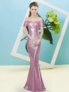 Off The Shoulder Short Sleeves Dress for Prom Floor Length Sequins Baby Pink Sequined