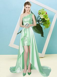 High Low Lace Up Homecoming Dress Apple Green for Prom and Party with Sequins