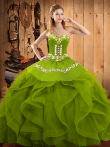 Sexy Sleeveless Lace Up Floor Length Embroidery and Ruffles Quinceanera Dress