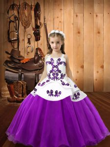 Latest Organza Straps Sleeveless Lace Up Embroidery Little Girl Pageant Dress in Eggplant Purple