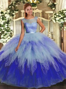 Floor Length Multi-color Ball Gown Prom Dress Organza Sleeveless Beading and Ruffles