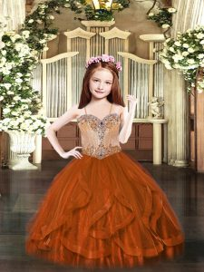 Custom Designed Rust Red Kids Formal Wear Party with Beading and Ruffles Spaghetti Straps Sleeveless Lace Up