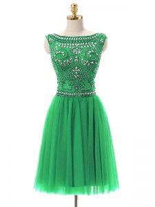 Green Zipper Prom Dresses Beading Sleeveless Mini Length
