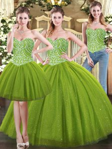 Sleeveless Tulle Floor Length Lace Up Quince Ball Gowns in Olive Green with Beading