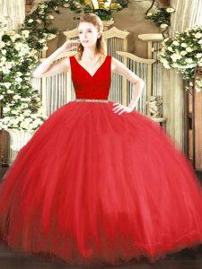 Simple Floor Length Red 15th Birthday Dress Tulle Sleeveless Beading