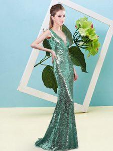 Traditional Sleeveless Zipper Floor Length Sequins Prom Dress