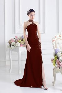 Customized Halter Top Sleeveless Elastic Woven Satin Prom Dress Beading Sweep Train Lace Up