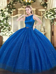 Blue Clasp Handle Scoop Belt Ball Gown Prom Dress Tulle Sleeveless