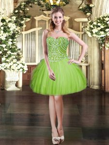 Artistic Sweetheart Lace Up Beading and Ruffles Prom Party Dress Sleeveless