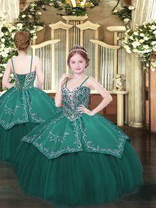 Customized Dark Green Sleeveless Beading and Embroidery Floor Length Custom Made Pageant Dress