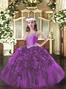 Trendy Fuchsia Pageant Dress for Womens Party and Quinceanera and Wedding Party with Beading and Ruffles Straps Sleevele