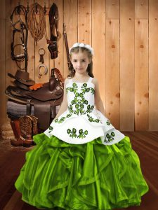 Organza Sleeveless Floor Length Pageant Gowns For Girls and Embroidery and Ruffles