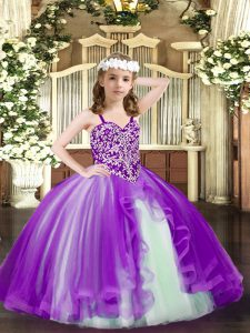 Purple Straps Lace Up Beading Girls Pageant Dresses Sleeveless