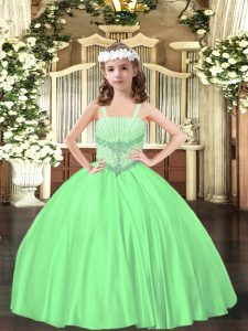 Sleeveless Satin Floor Length Lace Up Evening Gowns in Green with Beading