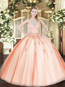 Sleeveless Tulle Floor Length Zipper Sweet 16 Dress in Orange with Lace and Appliques