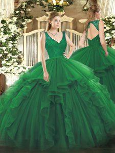 Sleeveless Floor Length Beading and Ruffles Zipper Quinceanera Dress with Dark Green